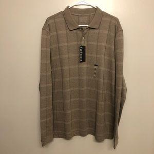Can Heusen long sleeve polo shirt tan NWT